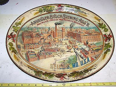 ca1900 ANHEUSER BUSCH BUDWEISER PRE PROHIBITION TIN LITHO BEER TRAY FACTORY