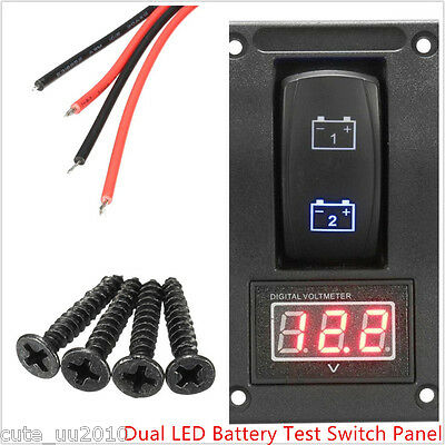 12V RV Car Truck SUV Marine Boat Battery Test Switch Panel LED Voltage ON-OFF-ON