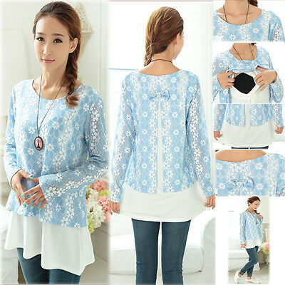 Elegant Floral Top Blouse Nursing Breastfeeding Prenancy Autumn Spring Size XL