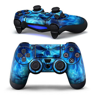 Hot Blue Skull Sticker Skin Case Cover Protector Decal For Sony PS4 Controller