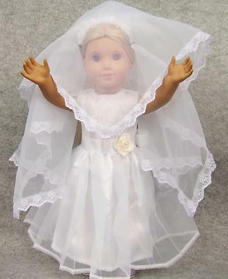 Handmade white Wedding dress outfit for 18inch American girl doll party b2
