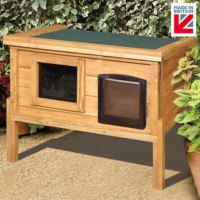 External Self Heating MICROCHIP Cat Kennel with One Way Privacy Window