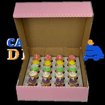 24 Mini-3Inch Deep Pink Corrugated Cupcake Box + Divider Choose Your Quantity