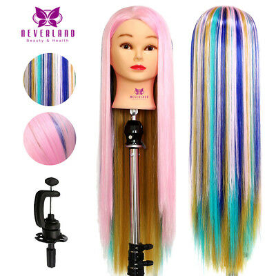 """AU 24"""" Colorful Hairdressing Hair Mannequin Practice Training Head Doll & Clamp"""