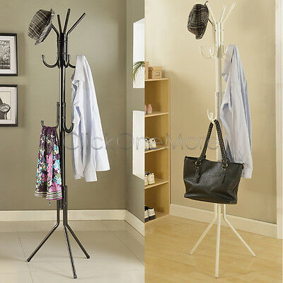 11 Hook Hat Coat Clothes Rack Umbrella Stand Tree Style Steel Hanger Black White