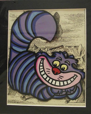 12 x10 ALICE IN WONDERLAND CHESHIRE CAT  HAND PAINTED  ANIMATION ART CEL MOUNTED