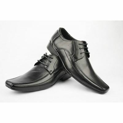Mens black real leather shoes formal office wedding lace up shoe size 6-11