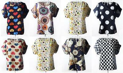 Women Sleeve Flounce Flouncy Chiffon Blouse Tops Batwing Plus Shirt O Round Neck