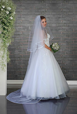"NEW White Ivory Wedding Bridal 2 Tier Cathedral Simple Veil 91"" - Satin Edge"