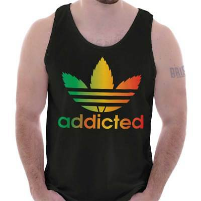 Addicted Stoner 420 Weed Athletic Marijuana Adult Tank Top T-Shirt Tees Tshirt