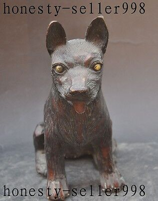 """6""""Old Chinese Fengshui Bronze Loyalty Ferocious zodiac Animal Dog Canine Statue"""