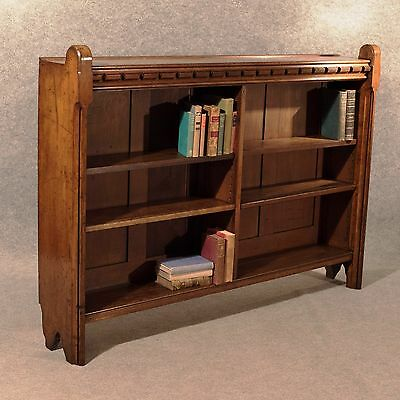 Antique Oak Bookcase Open Display Gothic Church Library Cabinet Victorian c1850