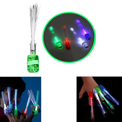 Dazzling Toys 12 Pcs LED Optical Fiber Finger Lights Flashing Ring Party Beams