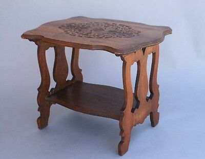 1920s Spanish Revival Carved Wood Side Table w Shelf Vintage Lyre Leg (9400)