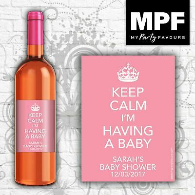 9 Personalised Wine Bottle Labels Baby Shower 'Keep Calm' PINK (Mini 187ml Size)