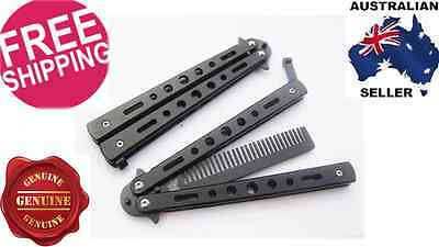 Folding Butterfly Comb Knife Training Balisong Dull Blade Practice Trainer Black