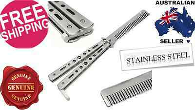 Folding Butterfly Comb Knife Training Balisong Blade Practice Trainer STEEL SILV