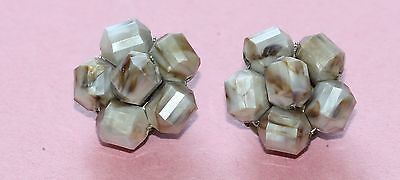 Flower Design Marble Colored Bead Cluster Clip-On Earrings *CUTE*