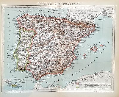 1897 SPANIEN UND PORTUGAL Alte Landkarte Antique Map Lithographie