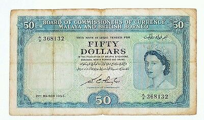 Malaya & British Borneo  Board of Comm. of Currency - $50, 1953