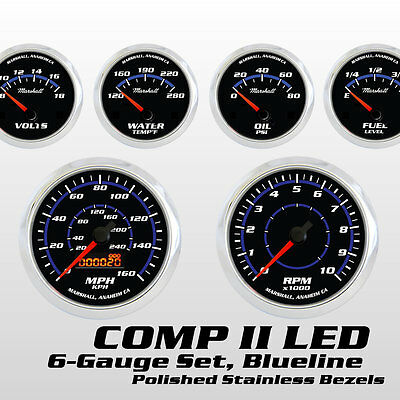 C2 Blueline 6 Gauge Set, Polished Bezels, Cobalt Blue Accents, Electric Speedo