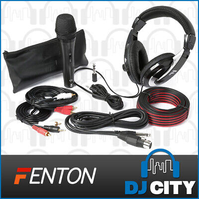 Fenton SH400 Complete DJ Accessories Kit w/ Headphones, Corded Microphone & More
