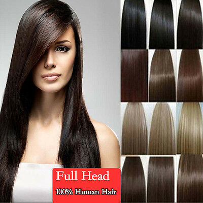 "Clip In 100% Remy Human Hair Extensions Full Head 7pcs 15"" 18"" 20"" 22"" Soft Hair"
