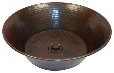 "15"" Round Copper CAZO Vessel Vanity Sink with DRAIN"