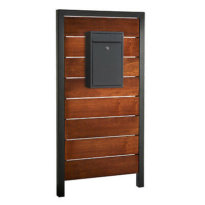 MILKCAN Real MERBAU Timber Panel Letterbox & Charcoal MailBox