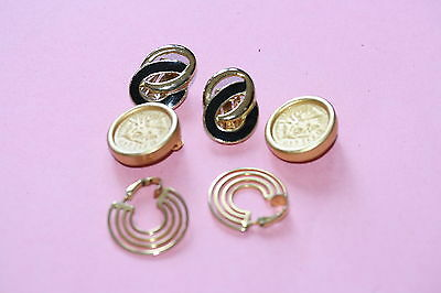 Three (3) Pairs of Gold Tone Clip-On Earrings *NICE DEAL*