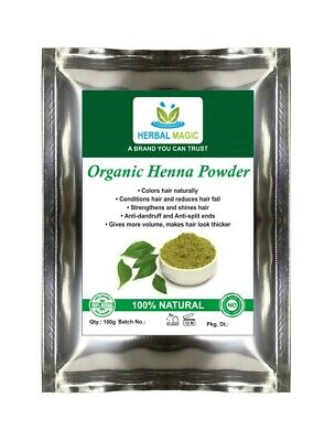 100g Organic Certified Henna Powder Triple  Sifted 100% Lawsonia  Inermis  /BAQ