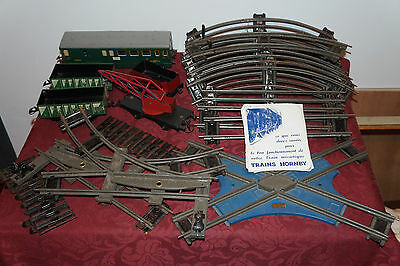 Lot HORNBY MECCANO Train Wagons Rails Courbes Echelle 0 1920-30