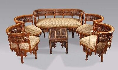 B-Gs-7 Rare oriental Lounge suite with Inlays