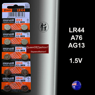 10 x LR44 Genuine Maxell 0%Hg 1.5V Battery A76/AG13 Alkaline Batteries Fresh