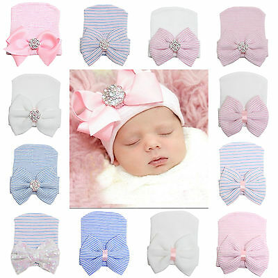 High Cute Baby Newborn Girl Infant Toddler Bowknot Beanie Cute Hat Hospital Cap