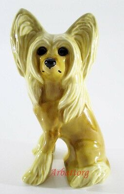 Dog Chinese Crested Porcelain Figurine Statuette Realistic Miniature #27