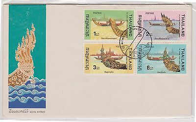 (H18-122) 1975 Thailand 2envelopes 8stamps royal barges covers