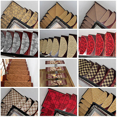 1/5pcs Staircase Floor Carpet Stair Mats Rugs Pads Mute Treads Magic Buckle Type