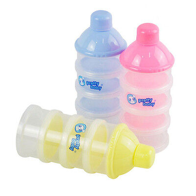 4 Layers Infant Baby Milk Powder Dispenser Case Box Travel Food Container Bottle