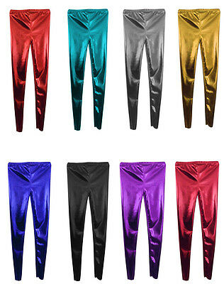 Kids GIRLS Disco Metallic Shiny Pants Dance Leggings schoolFootless School party