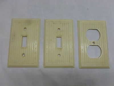 Vtg Art Deco Beige Plastic Light Switch Outlet Cover Plate Lot