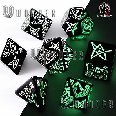 set 7 dadi FOSFORESCENTI CALL of CTHULHU Nero Black Glow Q Workshop RPG SCTH19
