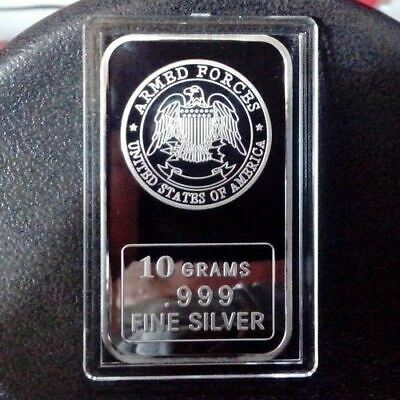 United States Armed Forces design, 10 grams .999 Fine Silver Bar, Military. NEW!