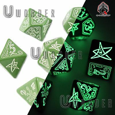 set 7 dadi FOSFORESCENTI CALL of CTHULHU Verde Green Glow Q Workshop RPG SCTH22