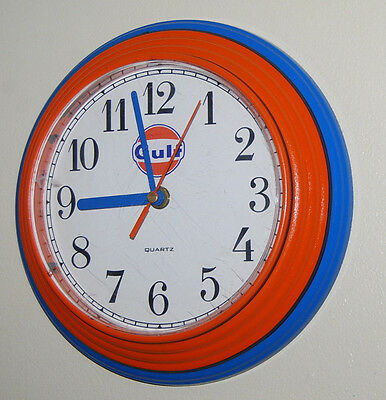 """Used 9"""" GULF WALL CLOCK  keeps great time, AA battery  Garage, Shop SMALL & CUTE"""