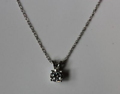 14k White Gold .30 ctw Solitaire Diamond Pendant Necklace 18 inches  - NEW