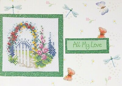 Handmade Love the Outdoors Cross Stitch Cards Gardening Garden Camping