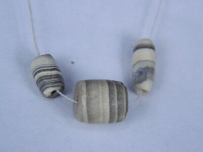 Ancient Agate 3 Beads Bactrian 300 BC   #BD15016