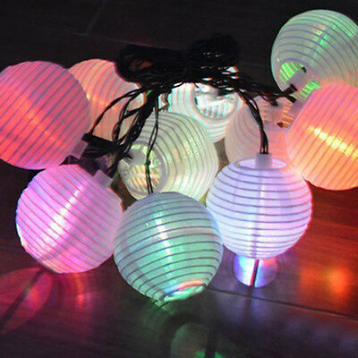 Outdoor Solar 10 LED Chinese Flash Hanging Lantern String Light Garden Yard Lamp