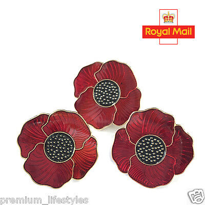 Red Poppy Pin Badge Brooch with Enamel